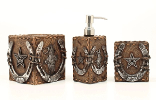Country Western Themed 3 Piece Brown Bathroom Set
