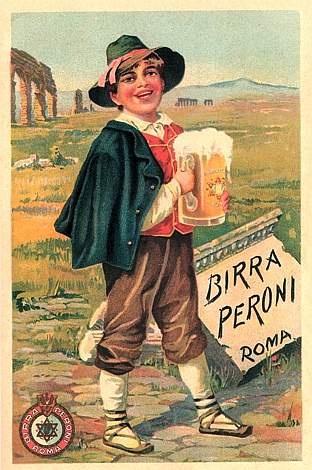 La cartolina della birra Peroni risalente ai primi del '900