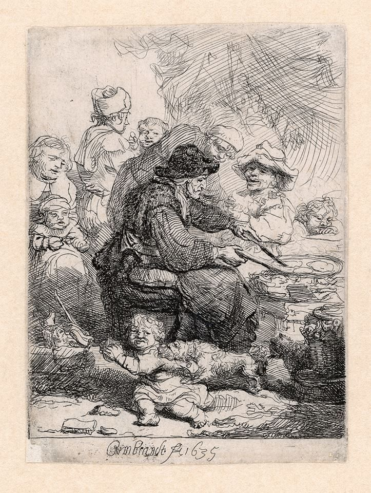 #12 Rembrandt, The Pancake Woman, 1635. The main subject of this etching is of course the woman making pancakes. This was a popular theme in seventeenth century art: pancakes are easy and cheap to make and in the seventeenth century you could buy them as 'street food'. For his version of a woman making pancakes, Rembrandt was probably inspired by a work of the artist Adriaen Brouwer. In Rembrandt's inventory from 1656 we can find a painting by Brouwer with the same subject.