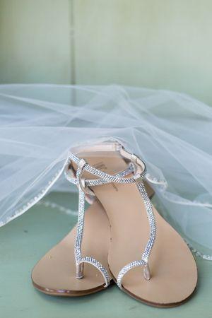 Wedding Day Shoes Flat Sandals Silver | Willows-Wedding-Photographer-Backyard-Wedding-TréCreative
