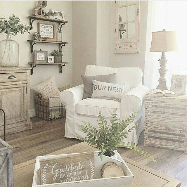 Farmhouse design, Fixer Upper style, vintage decor, neutral palette, textured elements, area rug, home decor, upholstered seating