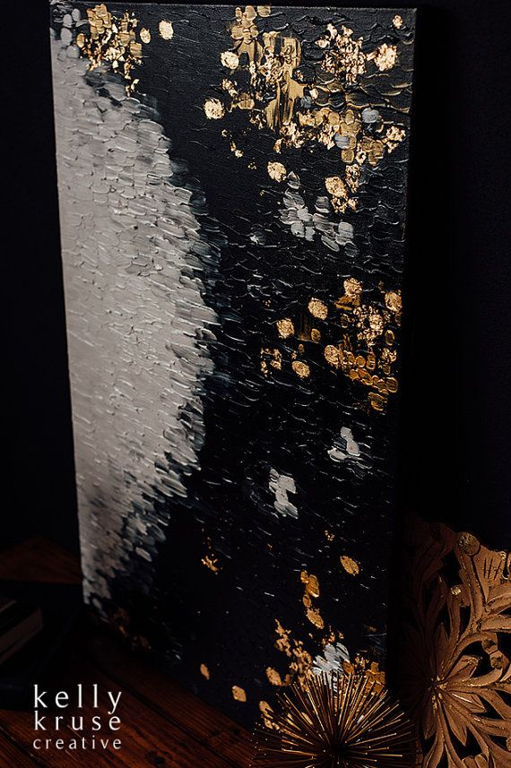 Blotted Out // Original abstract painting by kellykrusecreative