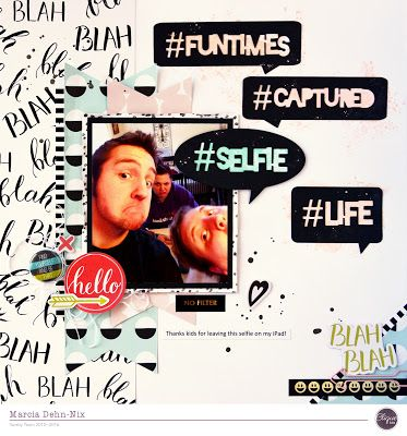 Selfie - Clique Kits March 2016 kit featuring the Studio Calico Goldie collection. I used the Word Bubbles and Hashtags digital cut files from JustNick.