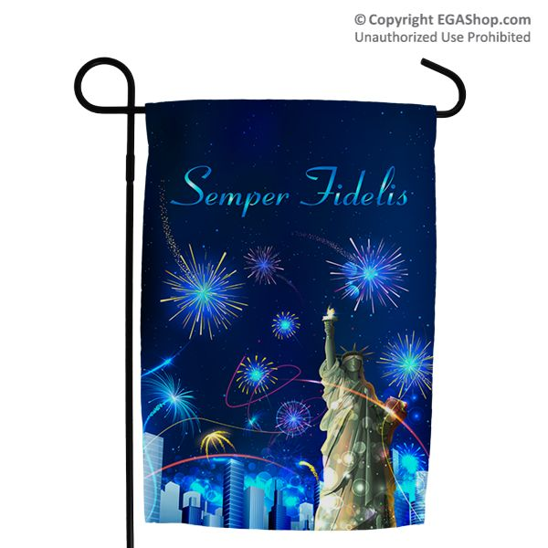 "Adorn your walk, driveway or garden with this unique flag Made in the USA! This flag features the Statue of Libery with a city scape below and a dark blue sky with firworks. Text in the sky read ""Semper Fidelis."" Perfect graden flag for July 4th! The flag measures approximately 12 x 18 inches. ONLY AT EGASHOP.COM"