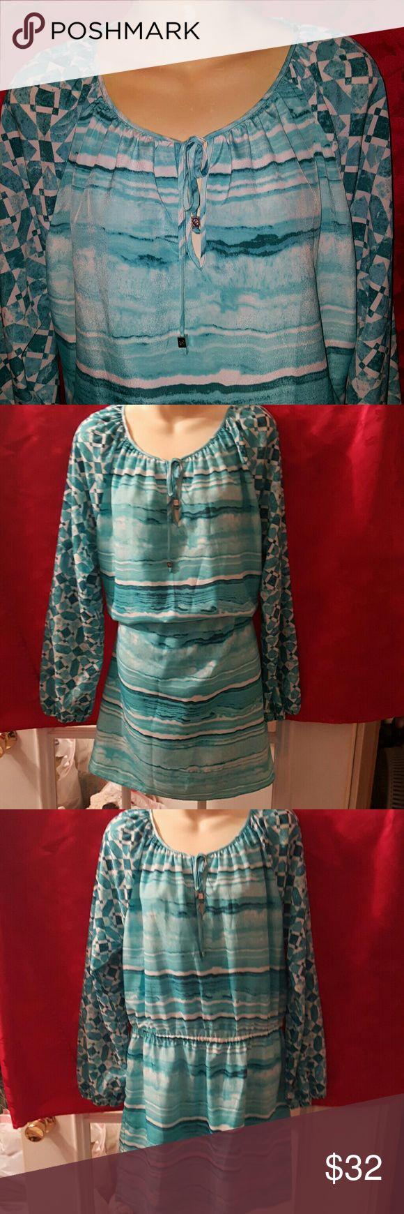 """Michael Kors Beautiful Aqua colors longsleeve Dress. Has a elastic waist.  Length 36"""" Bust 36 Arm length 27"""". Michael Kors Dresses Midi"""