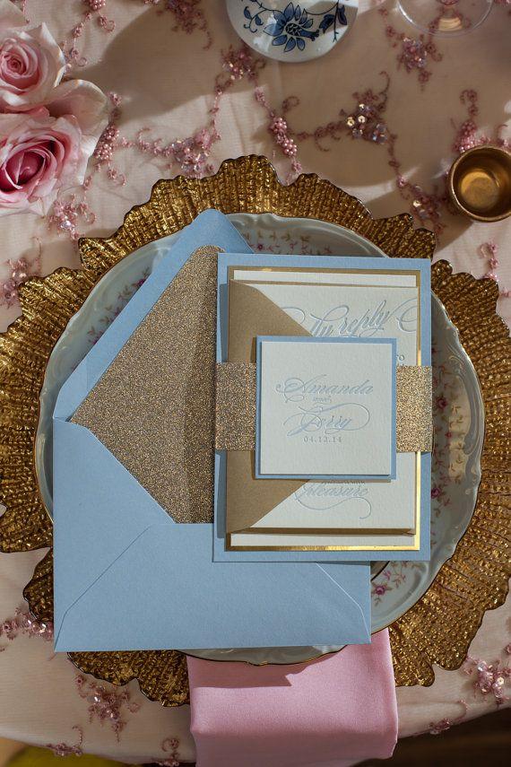 Fancy Powder Blue & Gold Glitter Letterpress Wedding Invitation - SAMPLE (Faith)