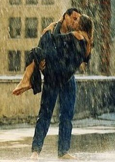 kissing in the rain and soaking wet!