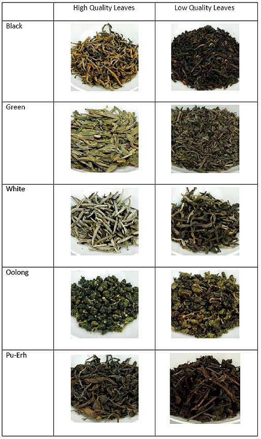 Quality Of Leaves By Type Of Tea
