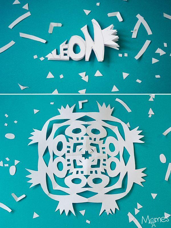 faire des flocons de neige en papier  avec les prénoms des enfants !!
