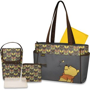Disney Winnie the Pooh 5-in-1 Diaper Bag Tote   Diaper Bag for New Grandbaby making its debut in December 2013. Winnie The Pooh is what the décor for Mommy, Jessica and Uncle James baby room. Love Winnie the Pooh and Friends.