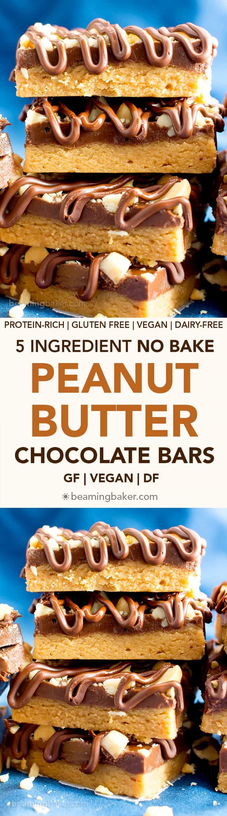 5 Ingredient Ultimate No Bake Chocolate Peanut Butter Bars (V, GF): The ULTIMATE chocolate peanut butter lover's Reese's peanut butter cup inspired dessert bar: thick layers of chocolate and peanut butter topped with crunchy peanuts and velvety chocolate drizzle. #Vegan #HealthyDesserts #ProteinRich #Snacks #GlutenFree #DairyFree #PeanutButter | Recipe on BeamingBaker.com