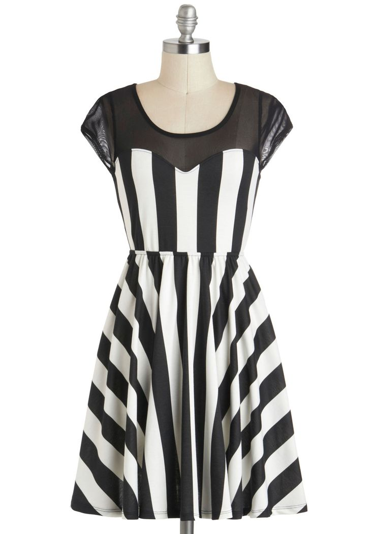 By Contrast Dress - Short, Black, White, Stripes, Casual, Fit & Flare, Cap Sleeves, Scoop