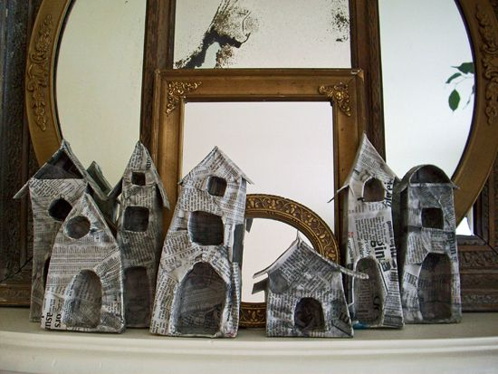 """Reincarnated pasta boxes with  first layer of paper ~ """"little houses made of ticky tacky ..."""""""