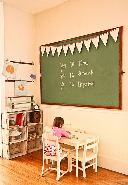 "Schoolroom.  If you have ever watched ""The Help"": Chalkboards, Schools Rooms, Crates Storage, Plays Rooms, Crates Shelves, Chalk Boards, Vintage Kids Rooms, Playrooms, Farmers Nests"