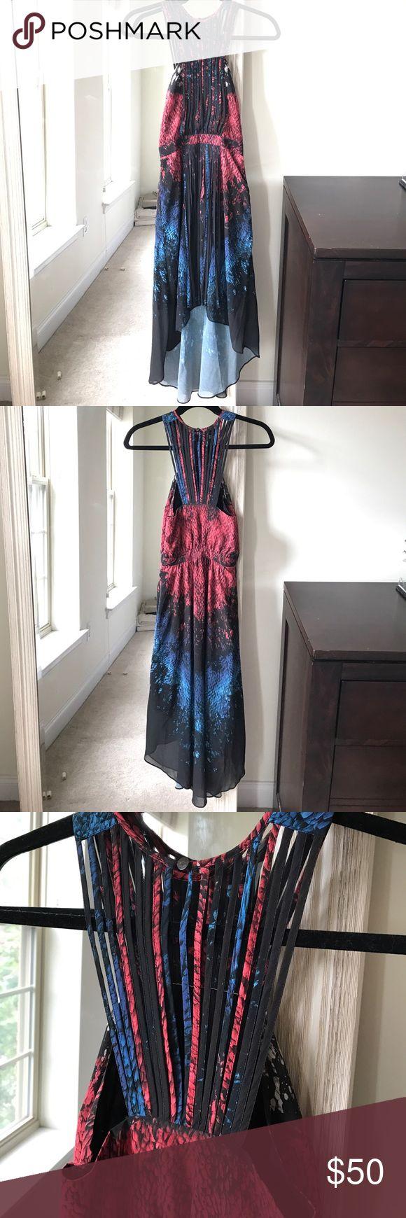 warehouse snakeskin print midi dress (UK 6/US 2)✨ warehouse snakeskin print midi dress. Red, blue, and black. Fringe down front. High low hem. Purchased from ASOS.  (UK 6/US 2)✨ Asos Dresses High Low