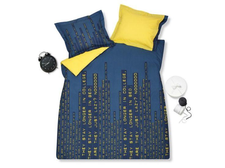 Leuk dekbedovertrek geel blauw