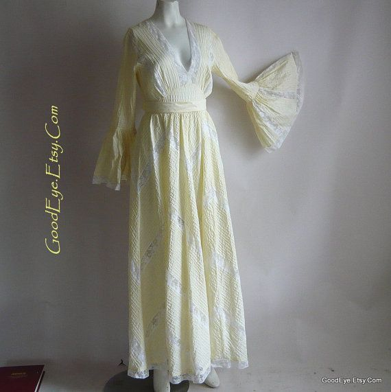 ROMANTIC Pintuck Mexican Wedding Dress Maxi / size 4 6 8 small /TACHI CASTILLO Prairie Dresses / Pastel Yellow Cotton Lace Inserts 1970s