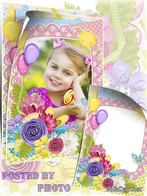 Детская рамка для фото - Цветы и воздушные шары