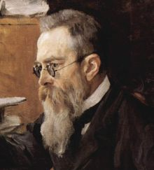 Nikolai Rimsky-Korsakov  18 March [O.S. 6 March] 1844[a 1] – 21 June [O.S. 8 June] 1908)    Head of a man with dark greying hair, glasses and a long beard  大黃蜂