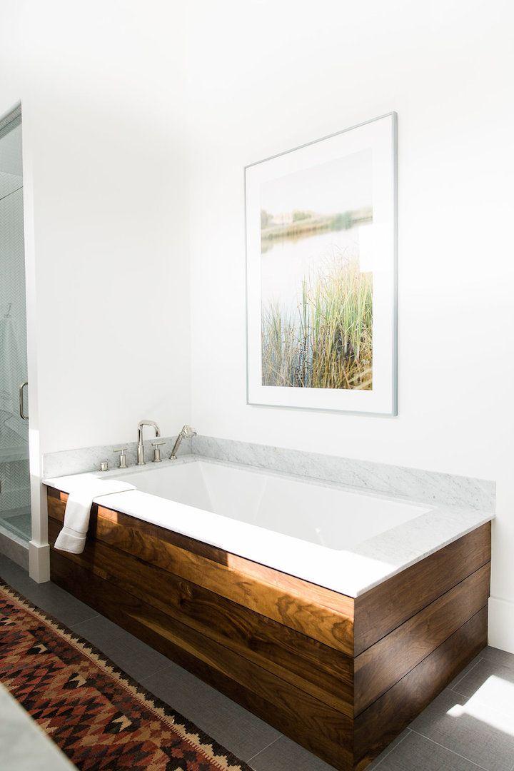 wood planking around bathtub   studio mcgee