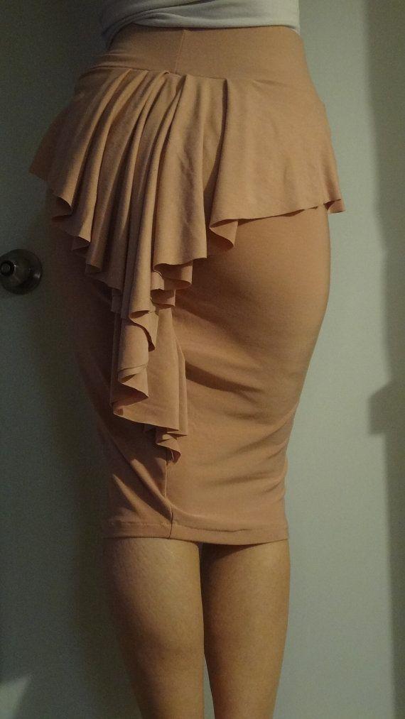 peplum ruffle pencil skirt