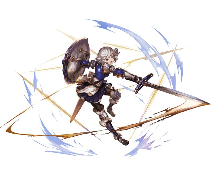 1girl armor armored_boots blue_eyes boots breastplate farrah_(granblue_fantasy) full_body gauntlets granblue_fantasy holding holding_weapon looking_at_viewer minaba_hideo open_mouth pantyhose shield short_hair shoulder_pads simple_background sword thighhighs weapon white_hair