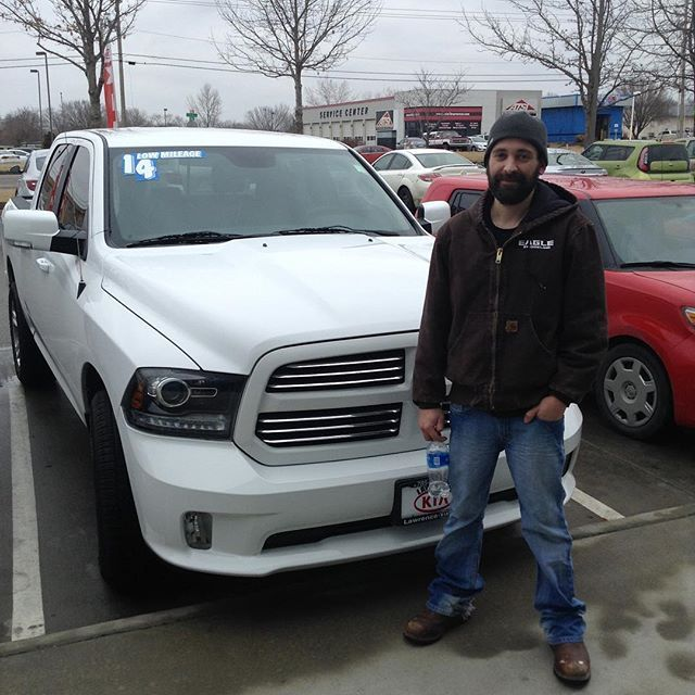 Congratulations to Beth and John Bowerman! They came to Lawrence Kia to work with Shannon Watterson and Mike Robeson and got a fantastic deal on their 2014 Ram 1500 Sport with Complimentary Lifetime Warranty- more extras to be installed later too!