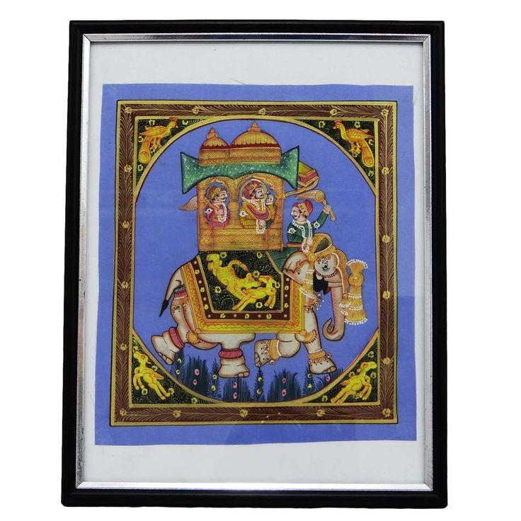 Indian Miniature Painting Mughal Emperor Riding Royal Elephant Art Silk MP991A