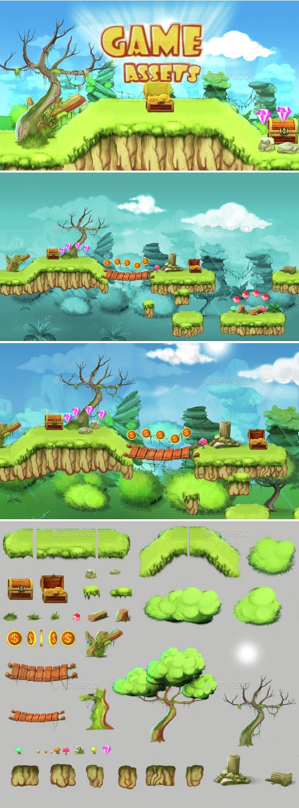 2D Tileset Platform Game — Photoshop PSD #sprite #assets • Available here → https://graphicriver.net/item/2d-tileset-platform-game-/14544412?ref=pxcr