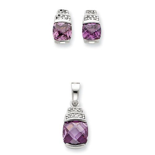 Sterling Silver Purple & Clear CZ Pendant & Earring Set Real Goldia Designer Perfect Jewelry Gift goldia. $35.33
