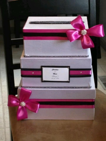 love this card box idea except blue n silver and not pink n black