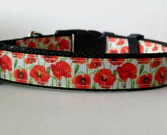 Flower Collar Pretty Patchwork Collar Country Dog Collar Patchwork Flower Collar Roses /& Bows Blue Floral Pet Collar Dainty Dog Collar