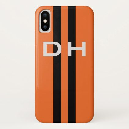Racing Stripes:  Black on Orange With Initials iPhone X Case - cool gift idea unique present special diy