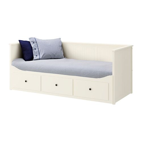 IKEA HEMNES Day-bed w 3 drawers/2 mattresses White/malfors firm 80x200 cm Four functions - sofa, single bed, double bed and storage solution.