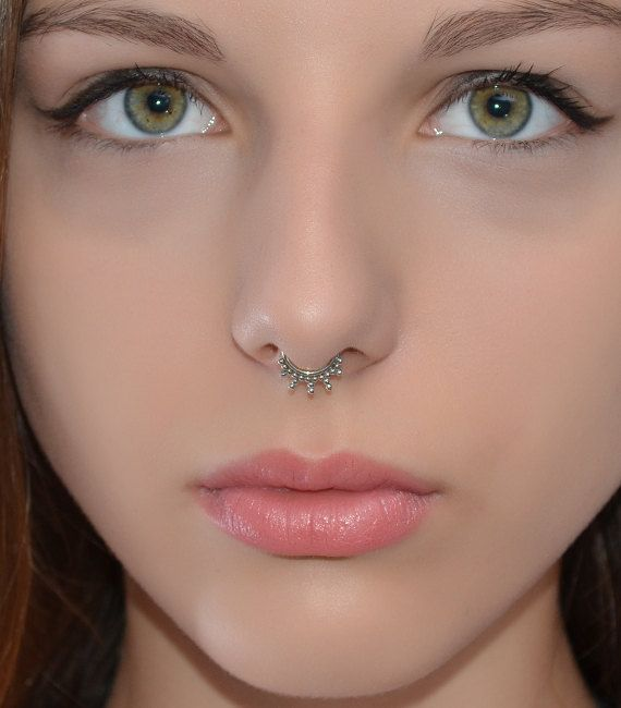 SEPTUM RING // Silver Nose Ring Septum by PjCreationsStudio