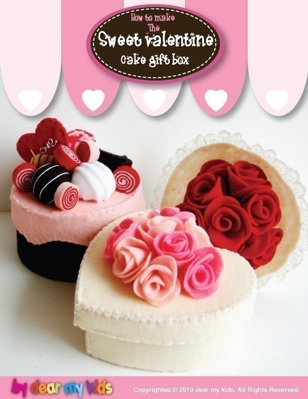 Sweet Valentine Cake Gift Box - PDF Patterns. $6.00, via Etsy.
