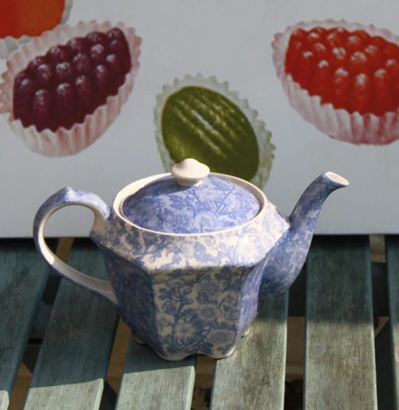 Blue and White Chintz Teapot Made by Past Times of England
