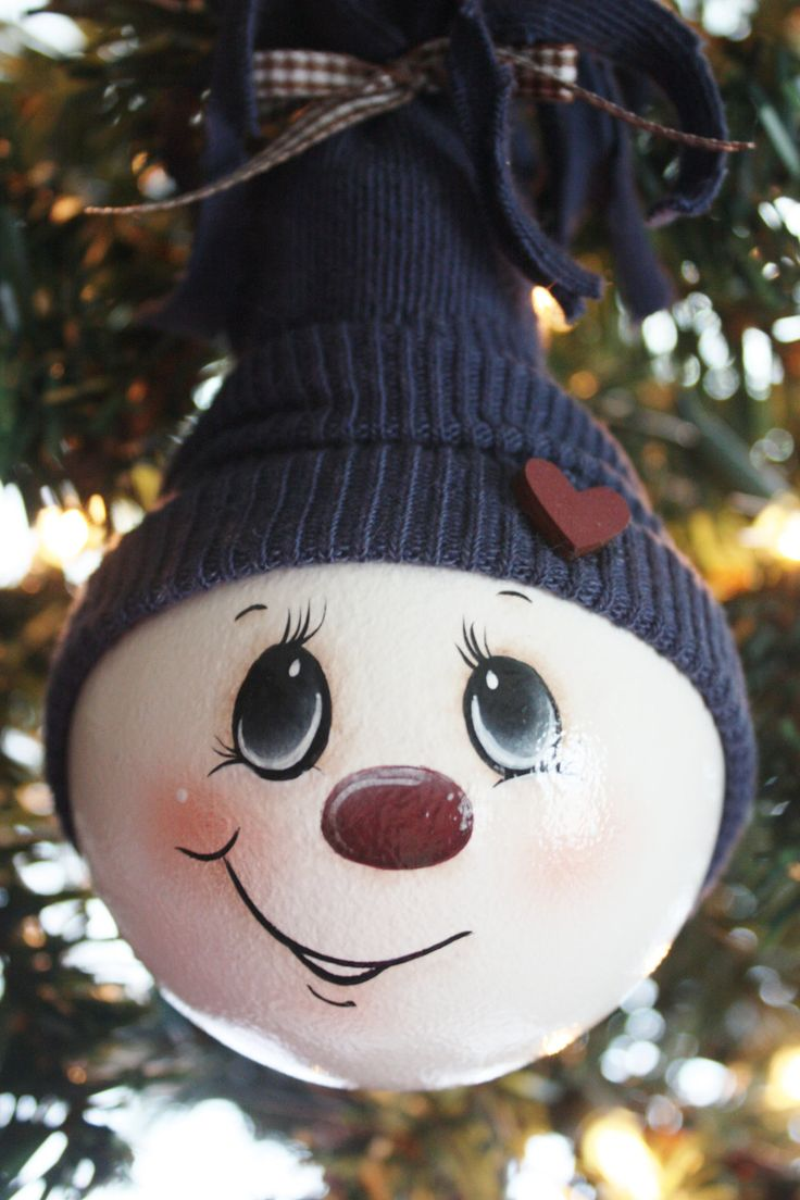 Light bulb ornaments - Hand Painted Large Navy Blue Snowman Light Bulb Ornament
