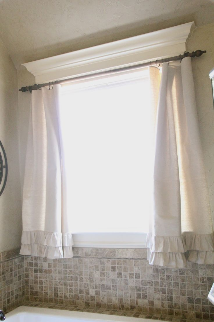 diy ruffle drop cloth curtains bathroom window