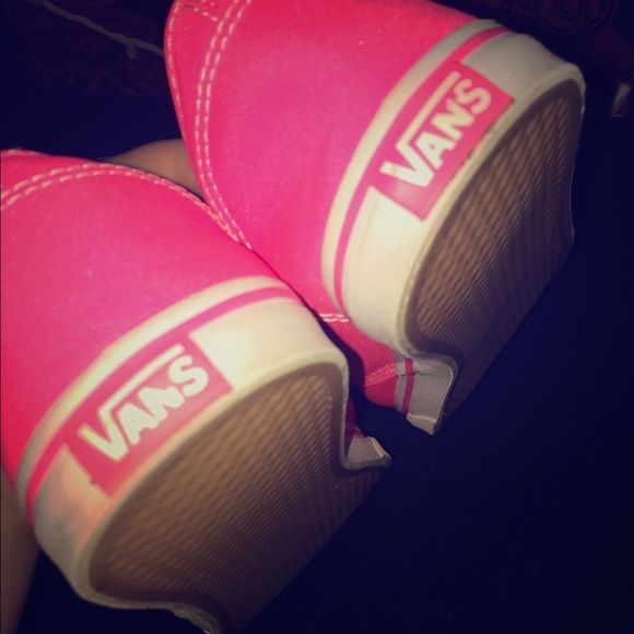 Pink vans Pink vans size 8.5 worn once. Nothing is wrong with them , they're in really good condition ! Pink just isn't my color Vans Shoes Sneakers