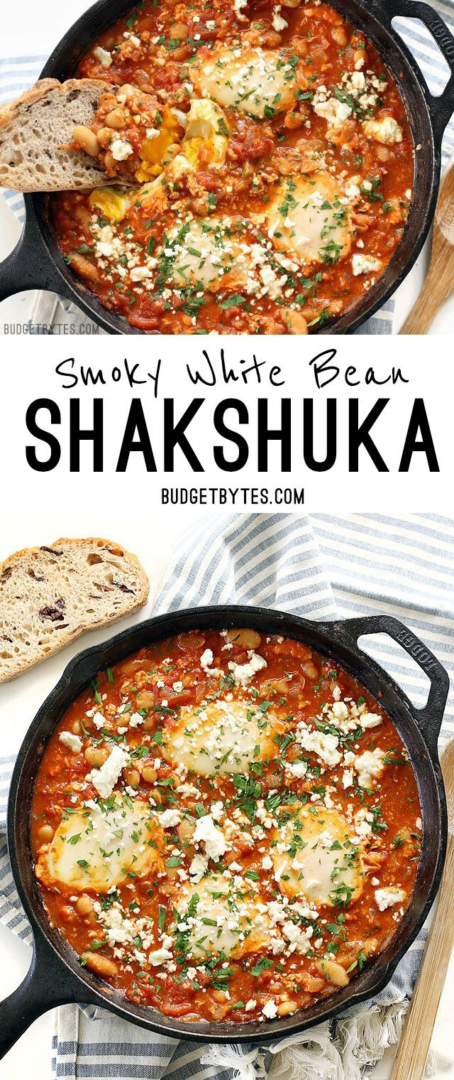 Eggs poached in a rich and smoky tomato sauce speckled with white beans, this Smoky White Bean Shakshuka is the perfect breakfast for dinner! @budgetbytes