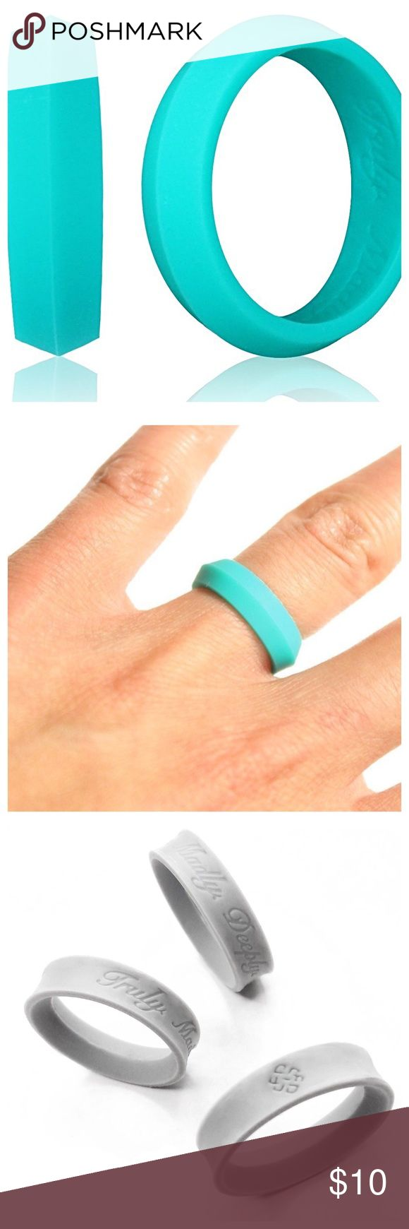 "TURQUOISE 5mm SZ 6 SILICONE WORKOUT WEDDING RING Knot Theory Silicone Wedding Ring for Women & Men. Size 6 in 5mm. Turquoise. Ring is engraved with ""Truly. Madly. Deeply."" and our infinite knot symbol, also known as the love knot. If your finger tends to swell (pregnancy, cold weather, diabetes), this flexible ring can still be worn comfortably. Great for working out! Enjoy! Knot Theory Jewelry Rings"