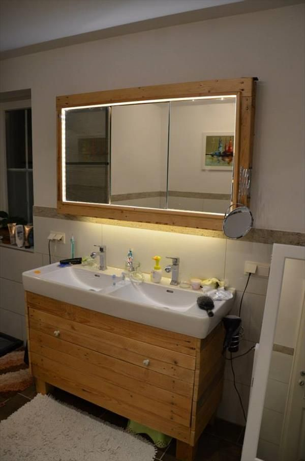 Pallet Bathroom Mirror and Sink Renovation | 99 Pallets