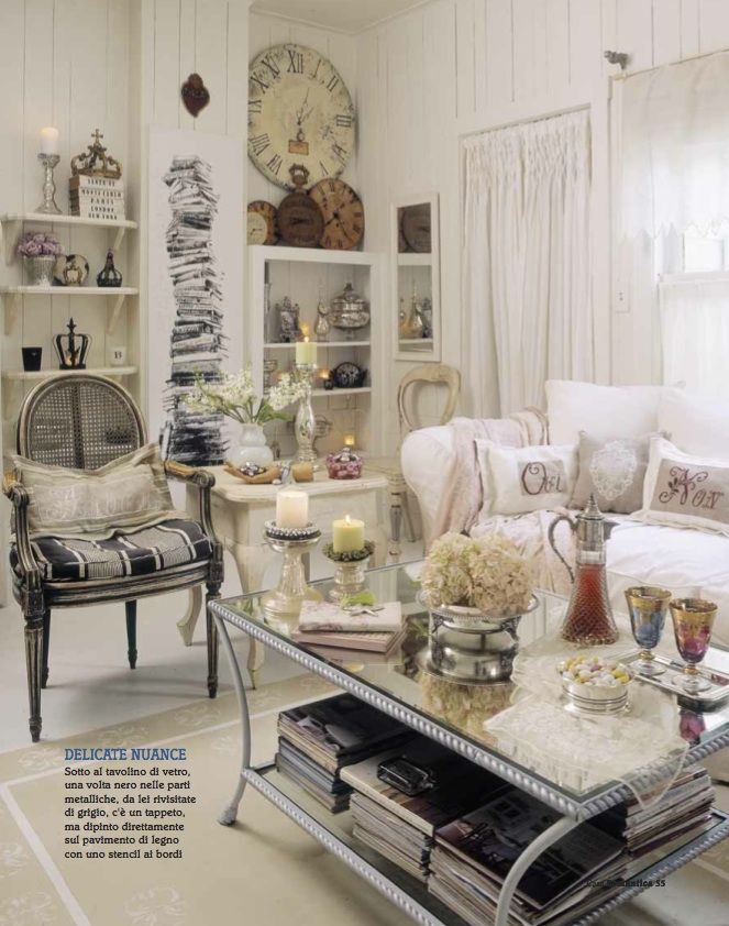 Living Room Chippy Shabby Chic Whitewashed Cottage French Country