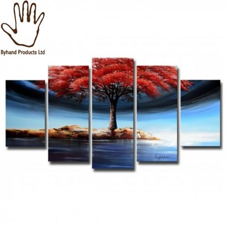 5 piece Lone tree in the Spring painting available at www.nuerasamp.com. Suitable for Living rooms, Corridor and offices.