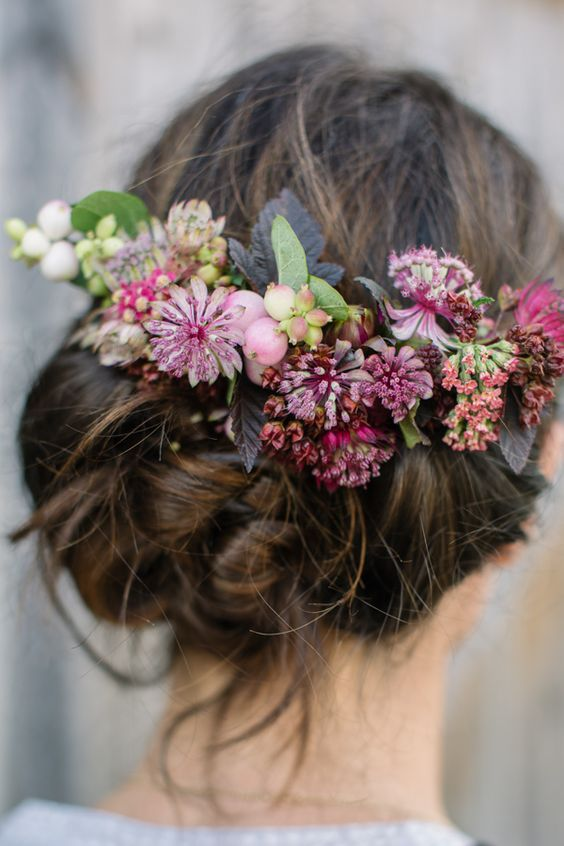 boho purple flower crown wedding hairstyle