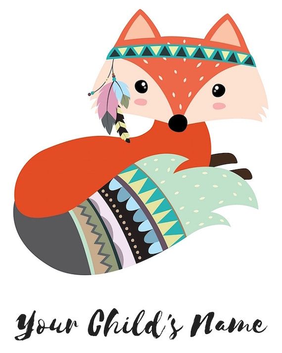 Personalized Printable Fox Printable Personalized Prints