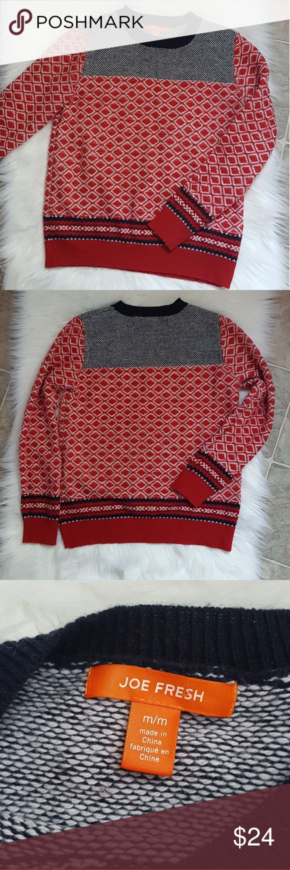 Joe Fresh nortic sweater  size M Joe Fresh nortic sweater  size M Super cute winter sweater. Pairs great with your favorite skinny and booties. Wool blend Red, navy, and white Excellent condition Joe Fresh Sweaters Crew & Scoop Necks