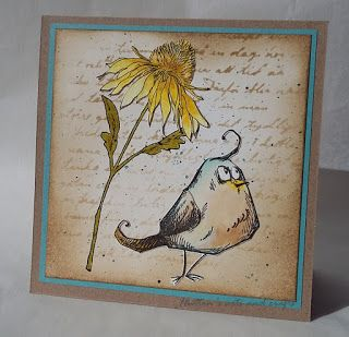 Hutton's arts and crafts Tim Holtz Bird Crazy Flower Garden handmade card