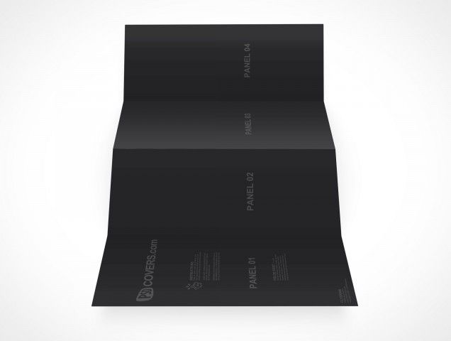 FLYER006 is an 8.5x14 inch 4 panel accordion flyer. This Cover Action Mockup will render your design on the accordion flyer positioned vertically on a hard surface with the rendered view looking down at the flyer at 45°.